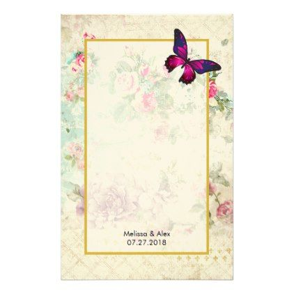 Pink Butterfly and Shabby Vintage Roses Custom Stationery - fancy gifts cool gift ideas unique special diy customize