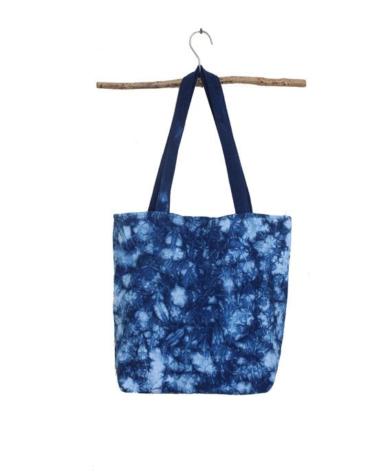 Indigo shibori hand dye large tote. Blue tote bag. Women by bySanz