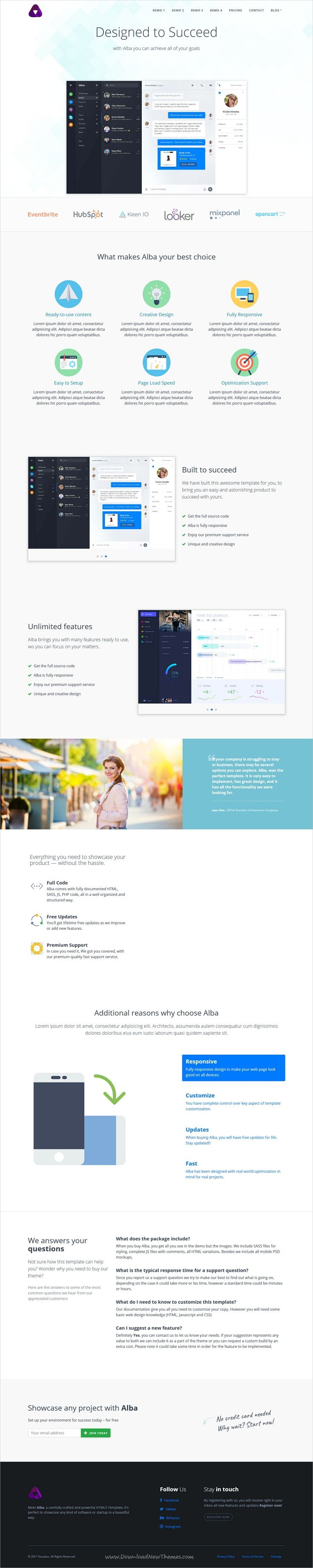 Alba is clean and modern design 4in1 responsive #HTML template for #SaaS and software company website download now #webdesign