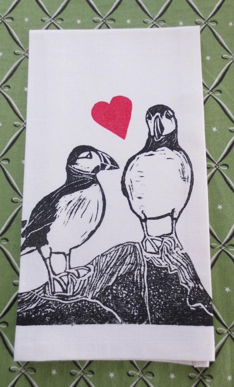Puffin Love, block printed tea towel