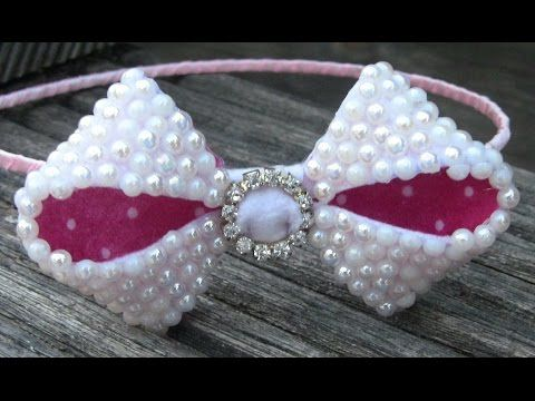 lace felt and pearls- Laço com meia perolas strass e Feltro - YouTube