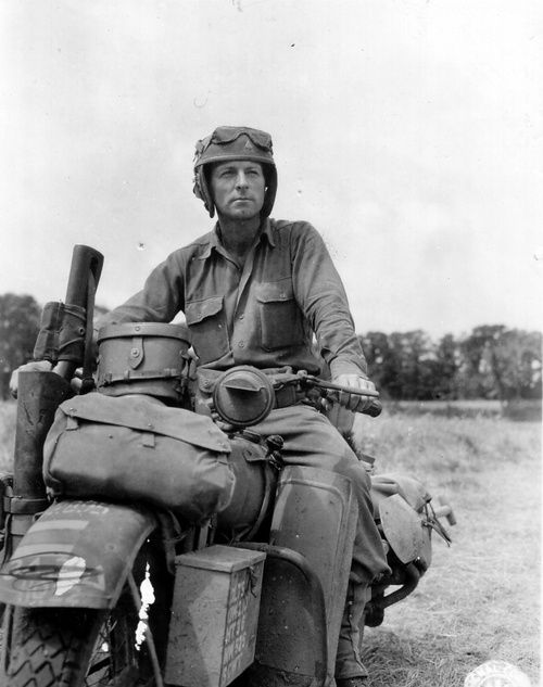 Private Robert J. Vance of the 33rd Tank Regiment/3rd Armored Division on his Harley Davidson, Normadny/July 1944