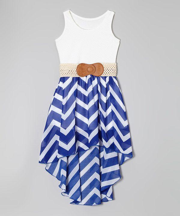 Look at this #zulilyfind! Royal Zigzag Belted Hi-Low Dress - Girls by Maya Fashion #zulilyfinds