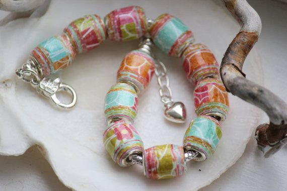 Beautifully Bashful - 1st Anniversary Paper Bead Bracelet