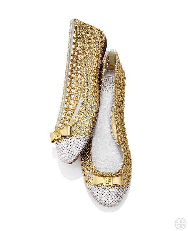 mixed metals basket weave ballet flats pure alchemy tory burch spring 2014 gift guide. Black Bedroom Furniture Sets. Home Design Ideas