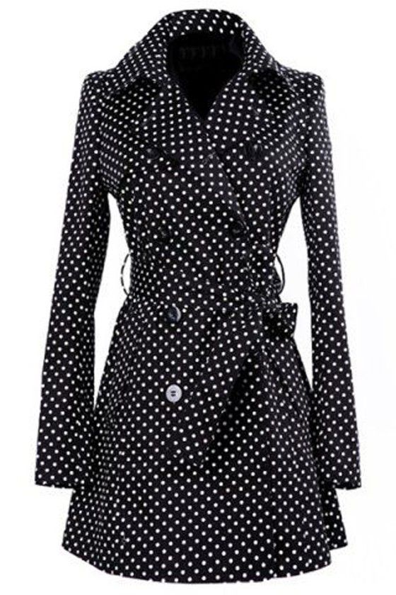 Black Polka Dot Bow Double Breasted Fashion Coat