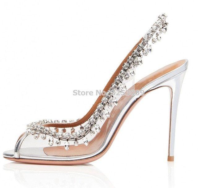 Almudena Graceful Silver Clear Pvc Crystal Wedding Shoes Open Toe Elastic Band Slingback Fringe Shoes Wedding Shoes Open Toe Crystal Wedding Shoes Fringe Shoes