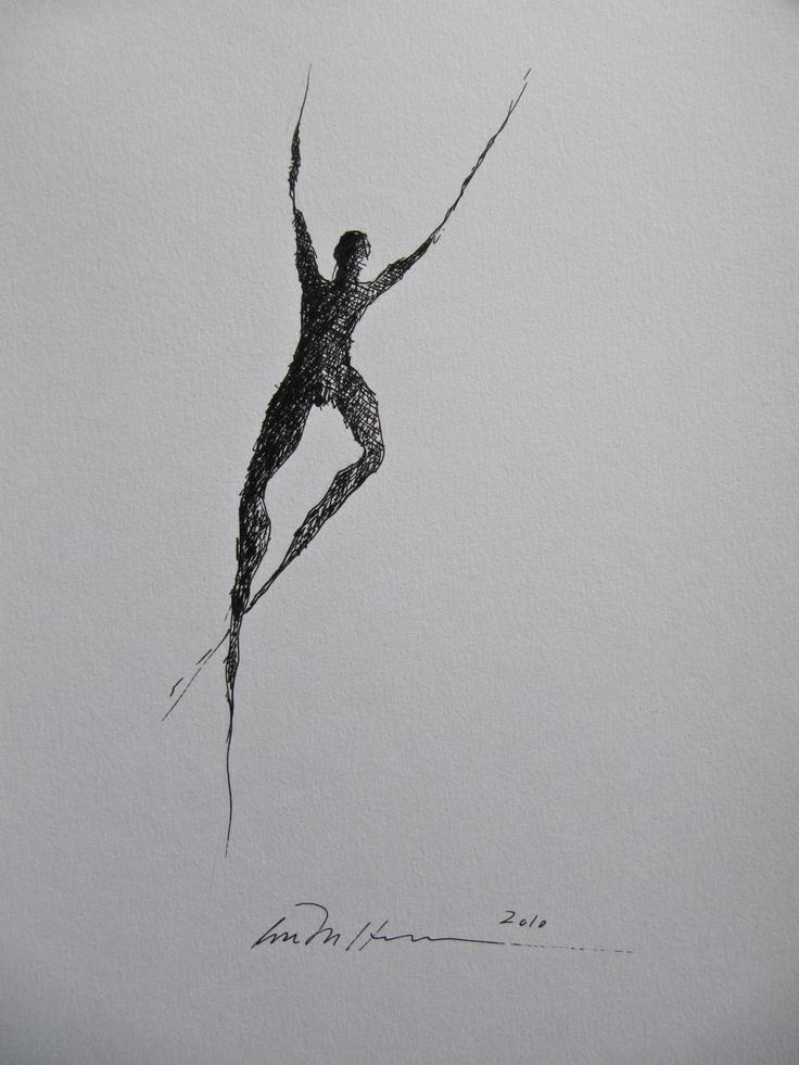 Åse Margrethe Hansen/Dancer. Ink drawing, 2010