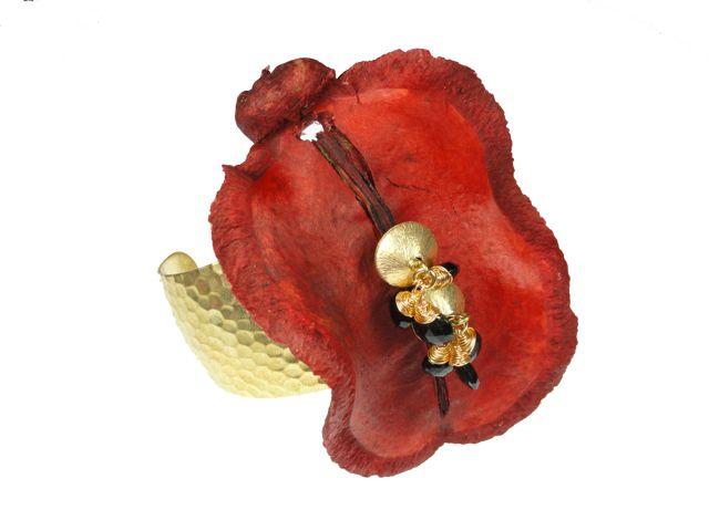 Jacaranda Seedpod Cuff in Red   Zia Couture Jewelry.