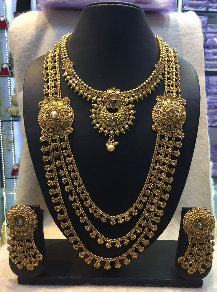 5645 Indian Bridal Antique Long Necklace and Earring Set Women Fashion Jewelry #Unbranded #Bib
