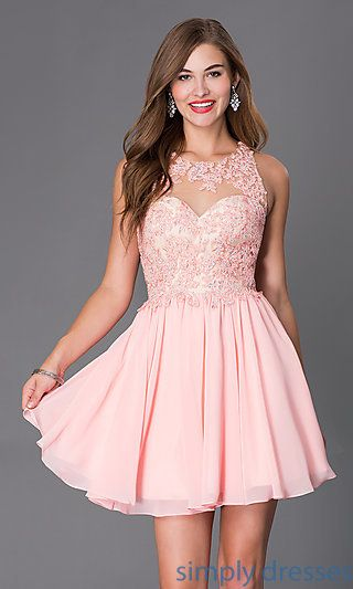 Short Sleeveless Dress with Beaded Lace Bodice