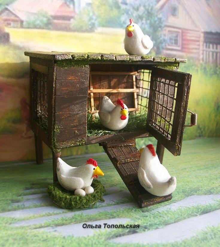 Hen house.Poultry.Farm .Bird.Scale 1:12 by OlgaDollhouseArt on Etsy