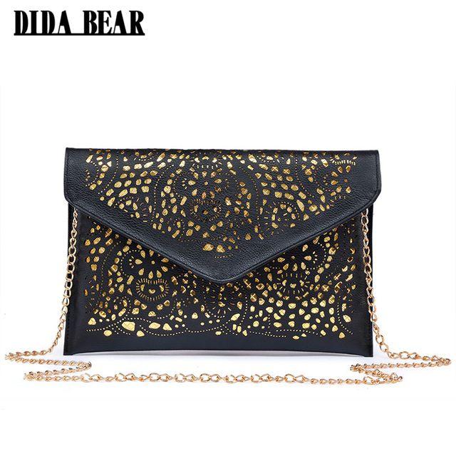 Hot Item $6.59, Buy DIDA BEAR CrossBody Hollow Out Messenger Shoulder Bag WOMEN Envelope Bag Lady Clutches Purse with Chain Bolsos Bolsas Sac A Main