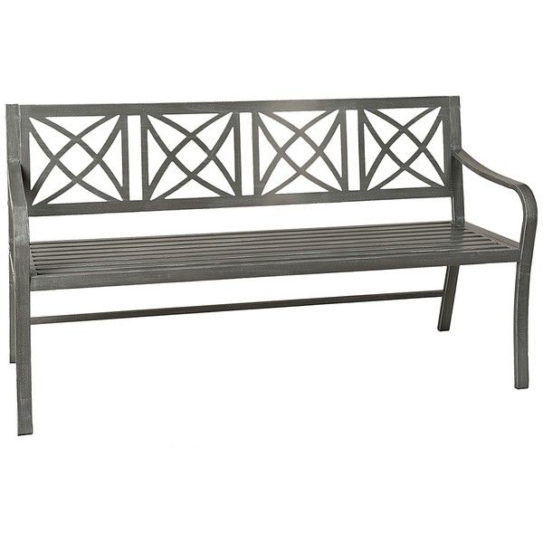 Gray Metal Bench ($150) ❤ Liked On Polyvore Featuring Home, Outdoors, Patio