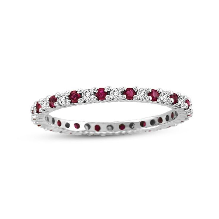 more diamond + gemstone bands to layer on my sapphire/white gold band. Suzy Levian 14K White Gold Diamond & Ruby Eternity Band Ring
