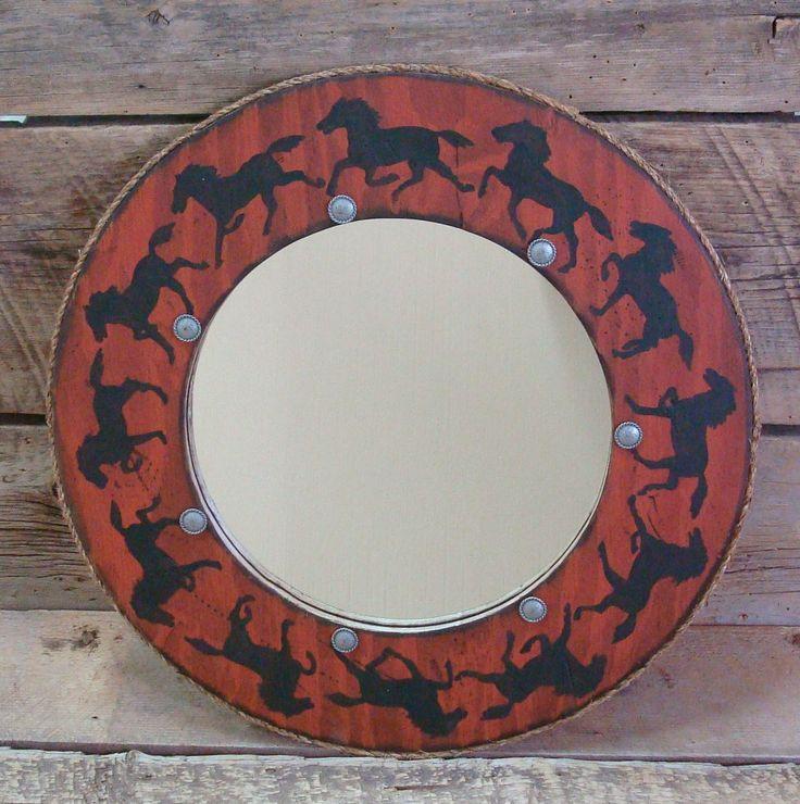 Round western mirror Decrotive wall decor by WorkHorseFurniture, $143.00