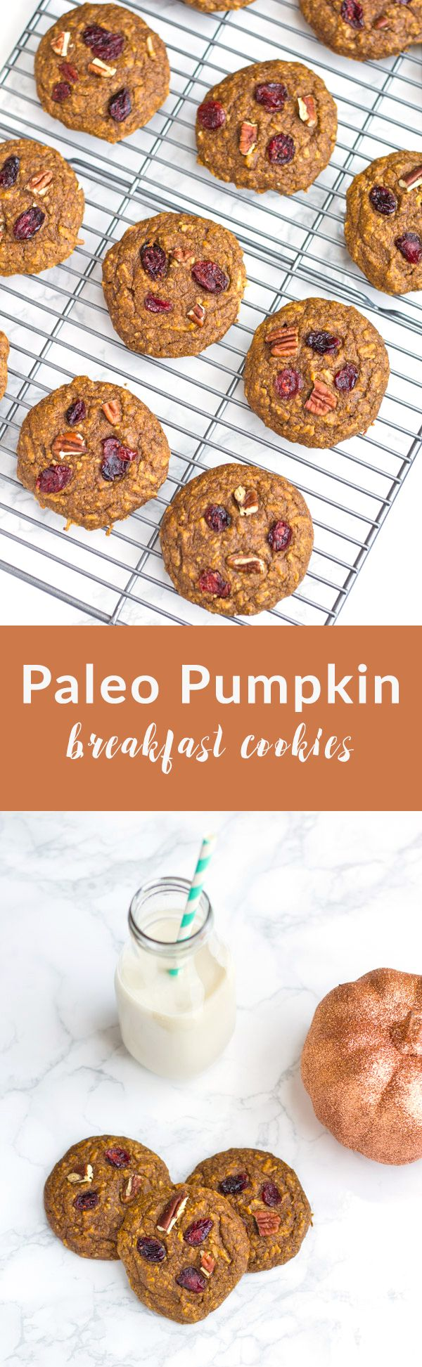 These Paleo Pumpkin Breakfast Cookies are the perfect way to start your day! Ready in 20 minutes with just one bowl. (Paleo Cookies)