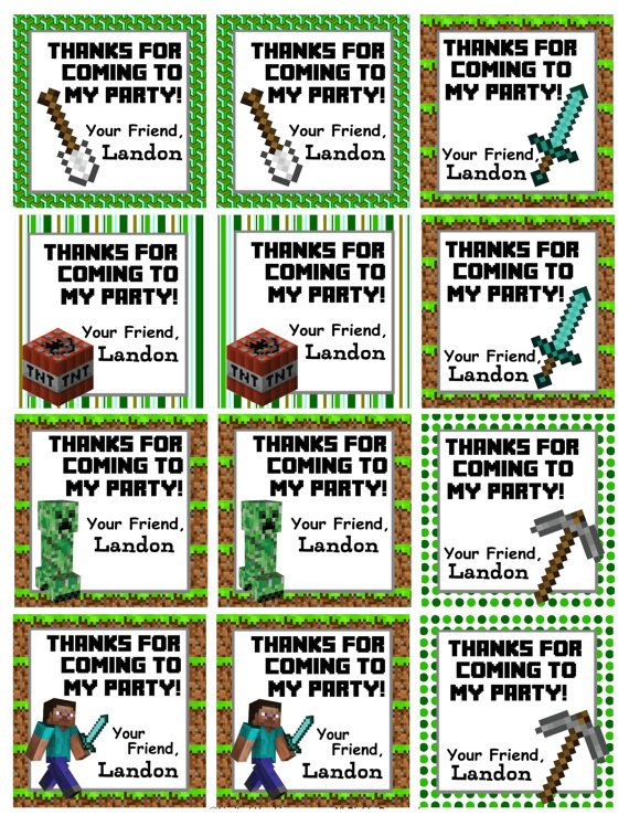 Personalized Minecraft Birthday Favor Hang Tags Party Goody Gift Bags Printable Download Decoration on Etsy, $5.00