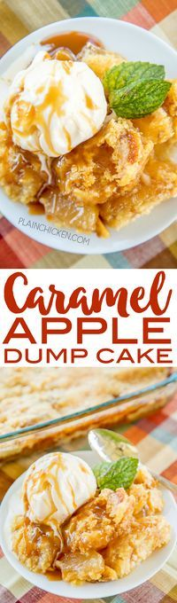 Caramel Apple Dump Cake - tastes like Fall Y'all!! With only 4 simple ingredients, you can't go wrong with this easy dessert recipe! Great for a crowd. Serve warm with some vanilla ice cream or fresh whipped cream. I never have any leftovers! A real crowd