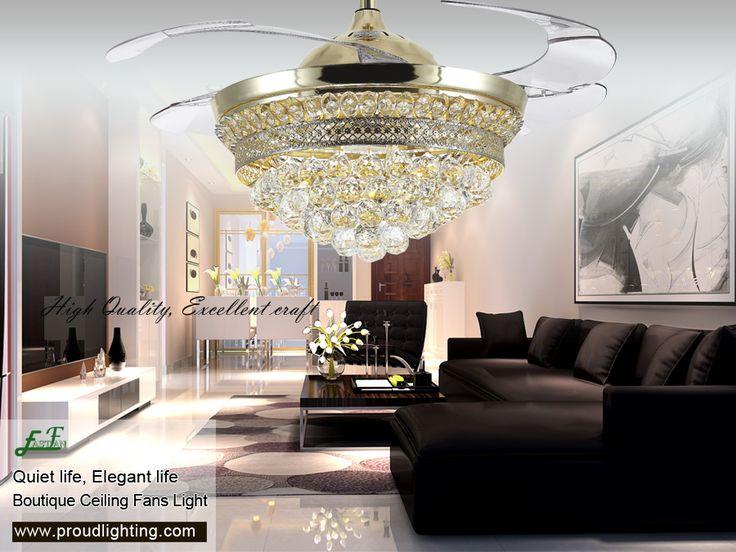 Crystal retractable ceiling fan