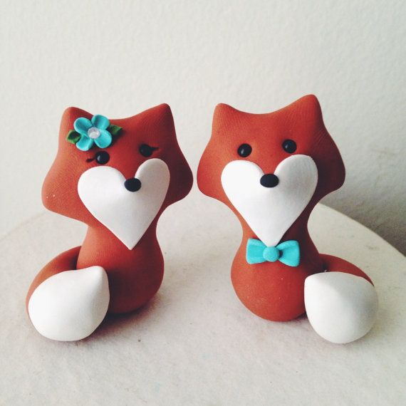 Fox Custom Wedding Cake Topper Handmade by LuLuAmour on Etsy