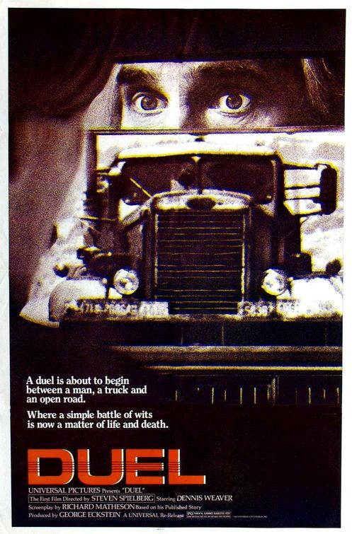Duel. (1971) Based on Richard Matheson's story of the same name. Starring Dennis Weaver. A great movie with rising tension, paranoia and fear.