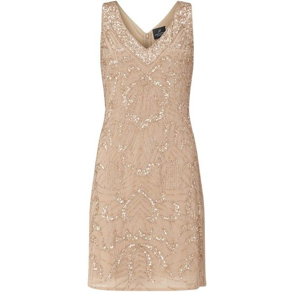 Adrianna Papell Sleeveless Beaded Godet Cocktail Dress, Champagne ($230) ❤ liked on Polyvore featuring dresses, sleeve cocktail dress, v neck cocktail dress, evening dresses, short evening dresses and shift dress