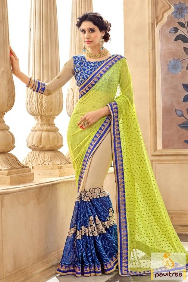 Get style that make you vivacious with fancy light green blue pure georgette marriage function saree in cheap rate. Purchase stylish lace border designer sarees online with discount sale. #saree, #partywearsaree, #weddingsaree, #sari, #indianweddingsaree, #designersaree,   #weddingbridalsaree, #sareewithblouse, #sarees, #Indiansaree,  #sareesonlineshopping,   #fashionsaree, #designercollection More:   http://www.pavitraa.in/store/embroidery-saree/ Any Query: Call Us:+91-7698234040