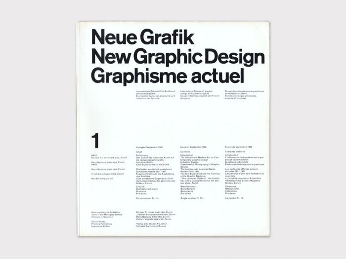 """Neue Grafik  New Graphic Design, Graphisme Actuel, No. 1 — Carlo Vivarelli, September 1958 /   Published quarterly in Zürich, Switzerland from 1958–1965, Neue Grafik was arguably the most important journal responsible for disseminating contemporary and historical Swiss functional design ideas and philosophies referred to as the """"International Typographic Style"""""""
