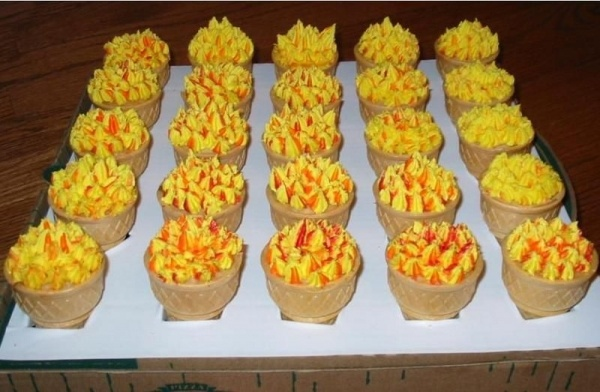 Olympic torch cupcakes