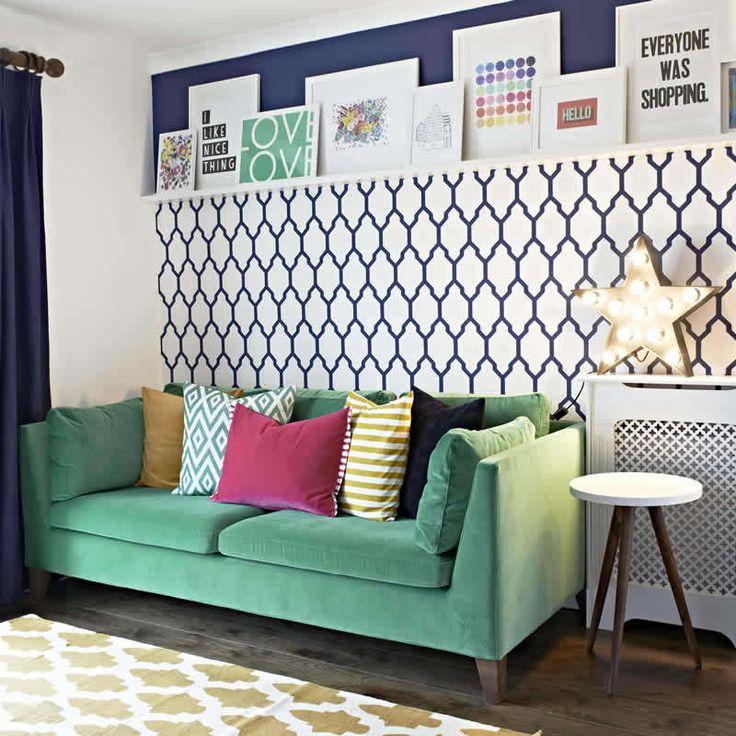 Bright Living Room Green Velvet Sofa Farrow And Ball Tessella Wallpaper Picture Ledge