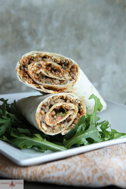 Roasted Red pepper, feta and lentil wrap by Heather Christo
