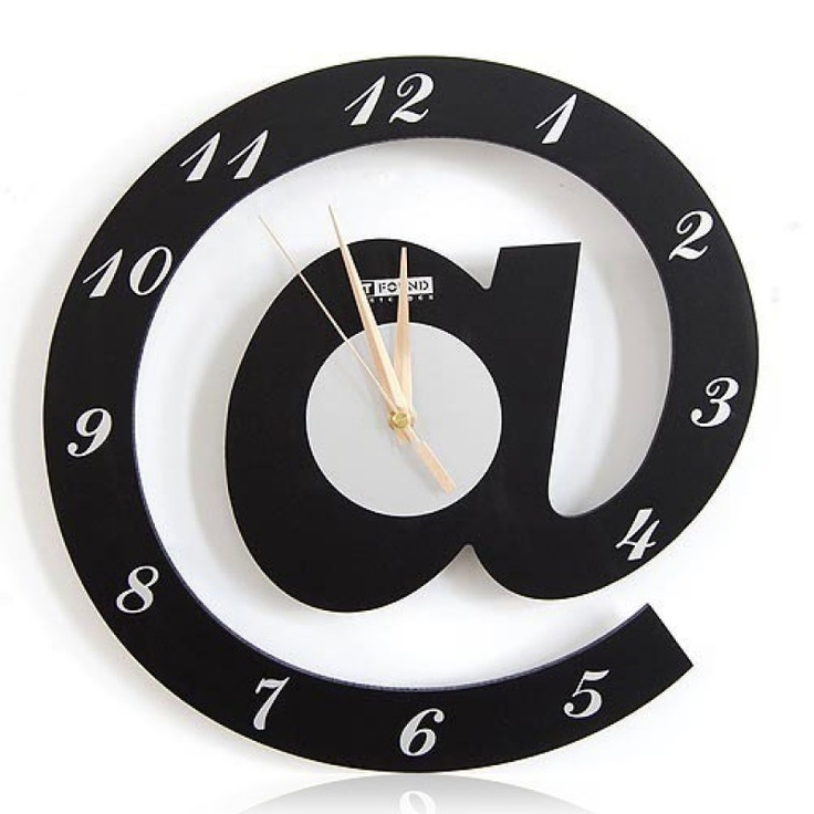 Great Name:Letter @ Web Language Featured Wall Clock Material: Wooden MDF Size: ×  × Silent Movement.To Create A Simple U0026 Stylish Atmosphere At Home.