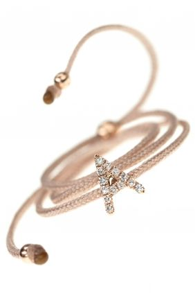 armband textil beige buchstabe a rosegold diamanten