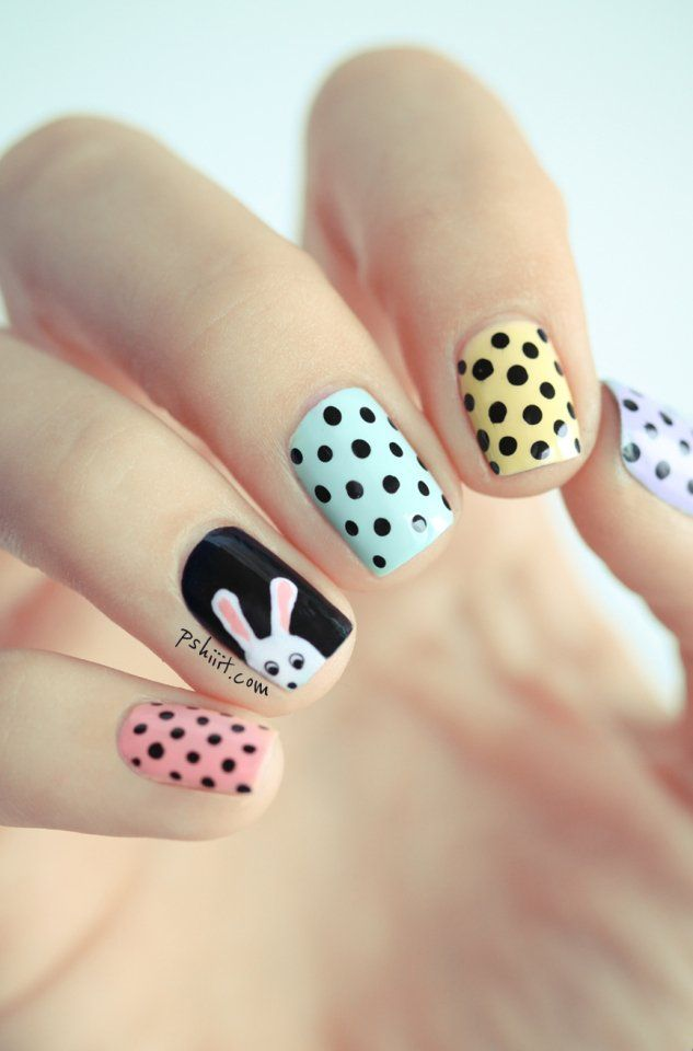 Pastel Polishes with Black Dots & Bunny Tutorial | BeautyTipsnTricks.com