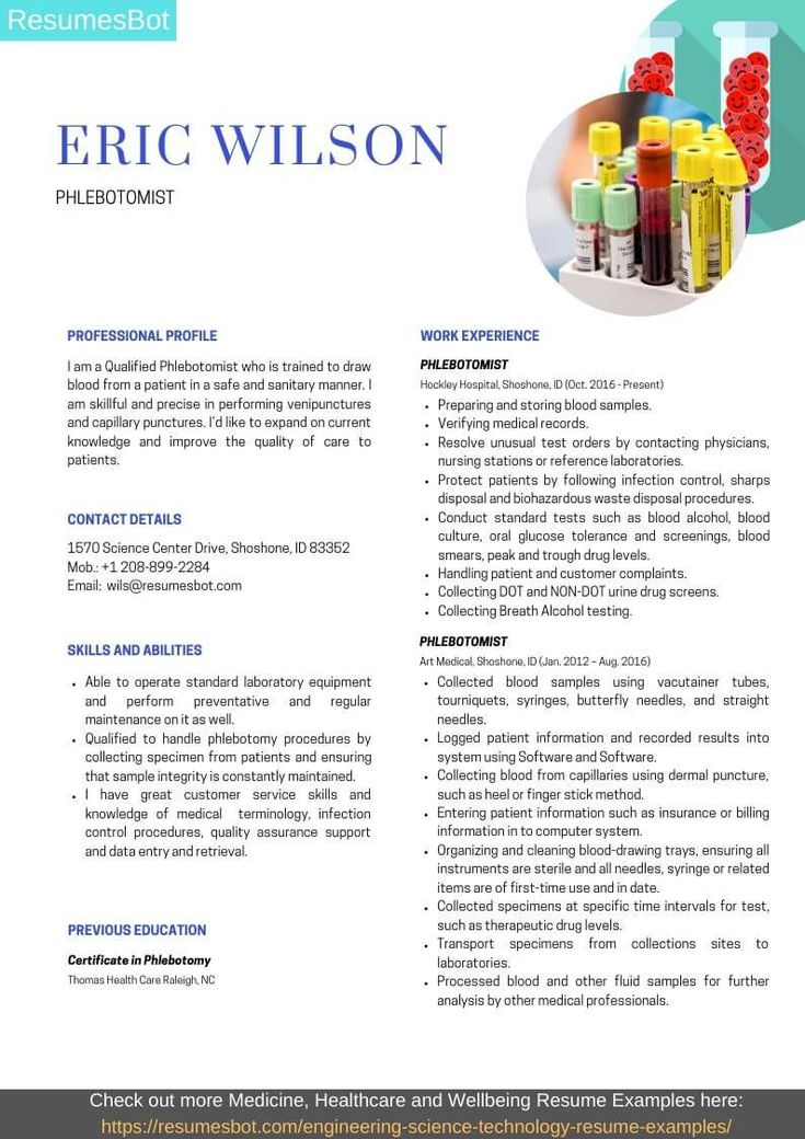 Phlebotomist resume samples and tips pdfdoc with