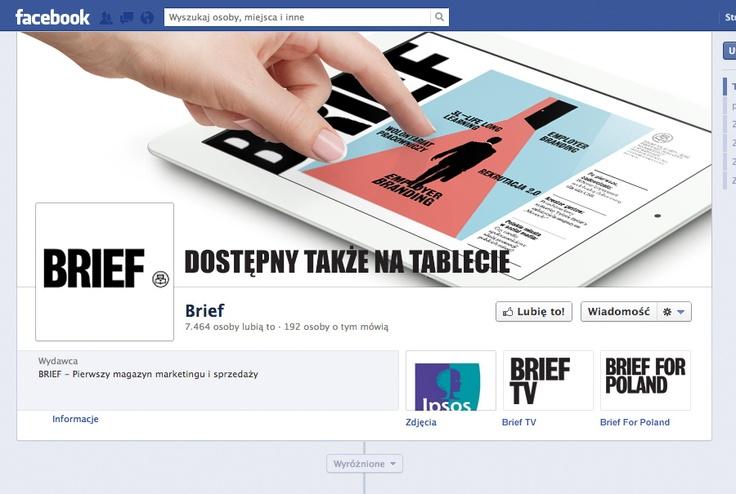 """Cover photo, awatar i ikony zakładek na Fan page'u Magazynu """"Brief"""""""