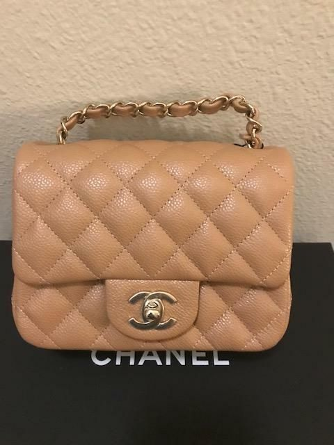 9746bda39fea NWT 18S 2018S CHANEL MINI SQUARE BEIGE TAN CAVIAR QUILTED CLASSIC BAG GOLD  HW  Chanel  Crossbody