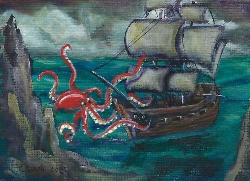 Nfac ACEO Original Gulat Acrylic Folk Art Painting Sea Monster SHIP Giant Squid | eBay