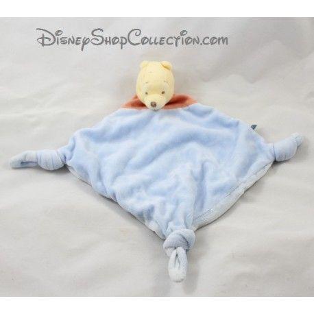 Doudou plat Winnie l'ourson DISNEY BABY losange bleu rouge 3 noeuds 33 cm