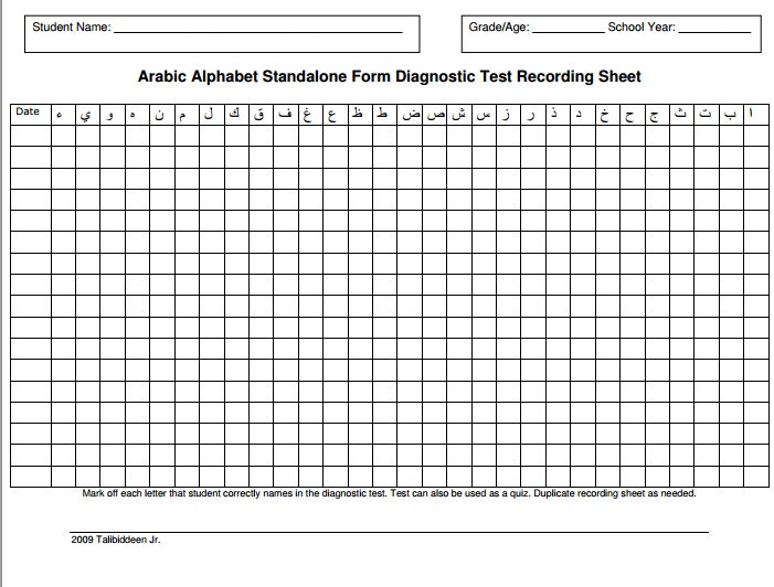 Arabic Alphabet Diagnostic Test Recording Sheet. Test your student's Arabic Alphabet Recognition skills and record results with this chart to keep track of which letters need to be reviewed more.