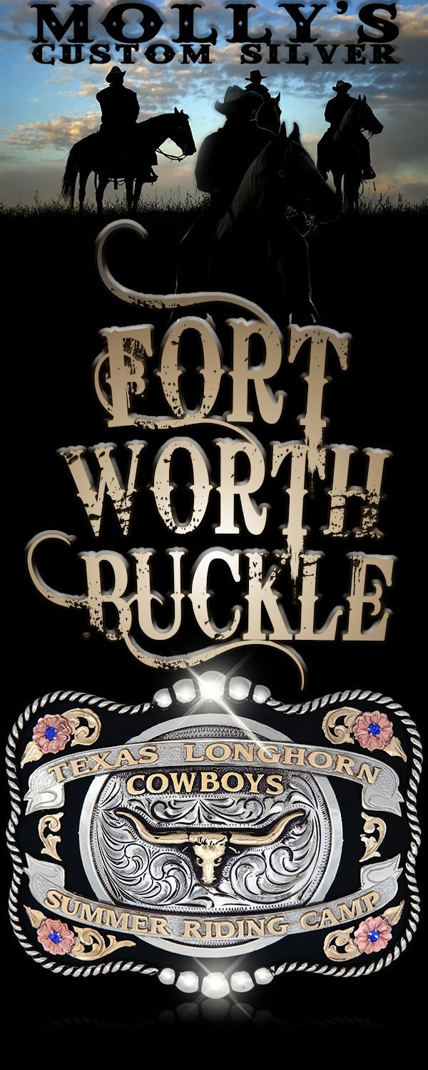 The Fort Worth Custom Belt Buckle is made from the highest quality German Silver.  The edge is a combination of beads and rope.  Banners and the center circle are made with antiqued German Silver.  It also has Jewelers Bronze overlays and letters with copper flowers.  A black enamel background complete this beautiful Trophy Buckle.   This Custom Belt Buckles is fully customizable with your choice of letters, figure, and stone color.