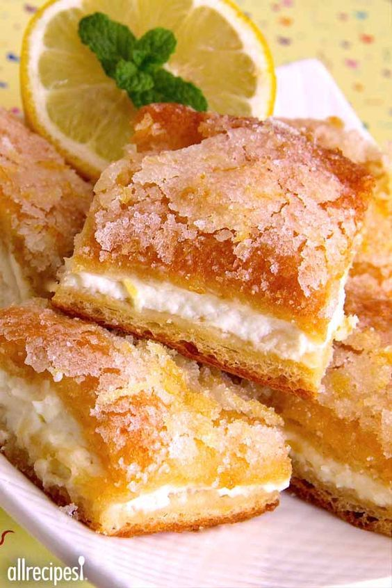 "Lemon Cream Cheese Bars  ""Fantastic recipe! Turned out great I think I found a new favorite!"""