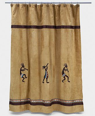 Revered by Native Americans, Kokopelli gives your bathroom an authentically Southwestern vibe. The dancing deity sways and steps across this sand-colored shower curtain. With an ultra-soft, faux suede