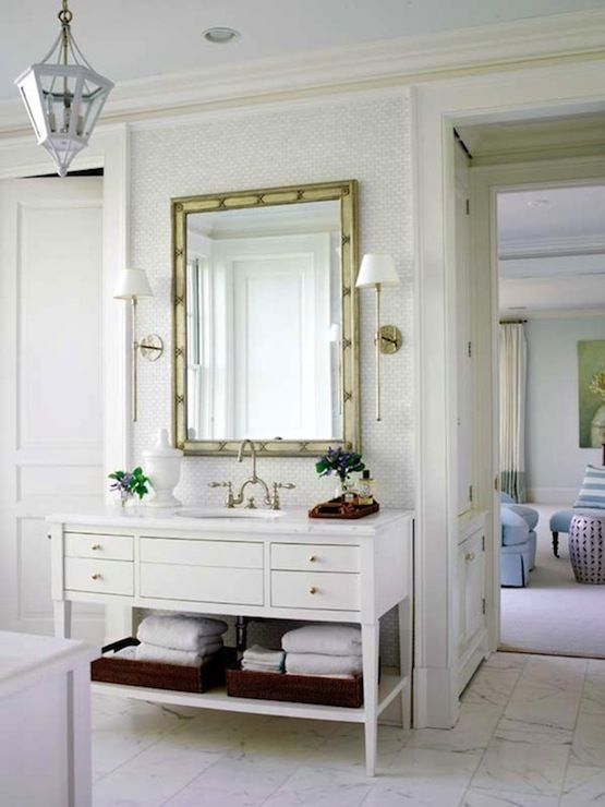 Suzie: Lynn Morgan Design - Beautiful bathroom design with white bathroom vanity, marble ...: Interior, Powder Room, Bathroom Vanities, Beautiful Bathroom, White Bathroom, Master Bath, Bathroom Ideas, Bathroom Vanity
