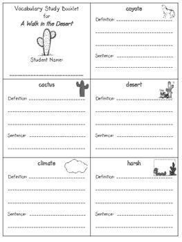 2nd grade reading street  - unit 1 vocab booklet freebie