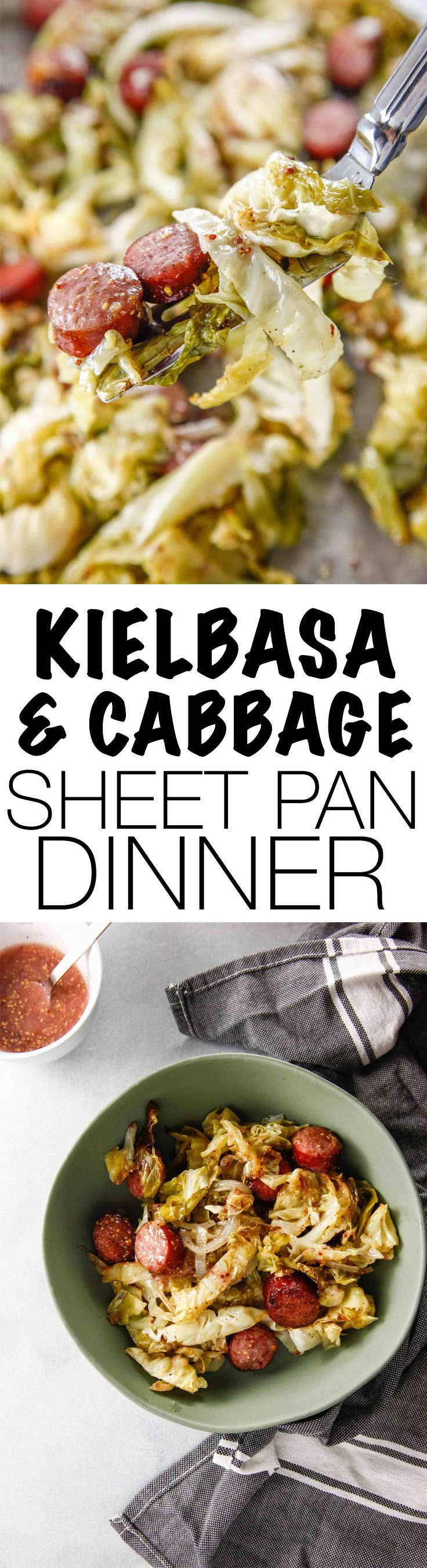 An all in one sheet pan dinner has got you covered. Slice, mix, season and cook, then eat! It's as easy as that. This Kielbasa and Cabbage Sheet Pan Roast recipe is sure to be a crowd pleaser! Via @thebrooklyncook #dinner #sheetpan #kielbasa #onepan
