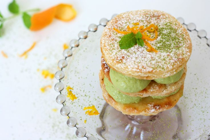 Matcha Mille Feuille. Crispy and creamy at the same time