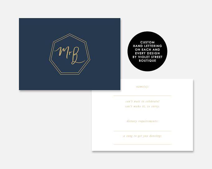 Printable Bali PDF Wedding RSVP card Navy Gold Invite Printable Wedding element Monogram Classic Modern RSVP Crest Monogram Calligraphy