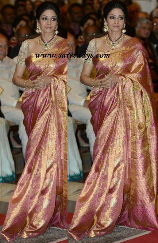 sridevi in beautiful pink kanchipuram silk saree